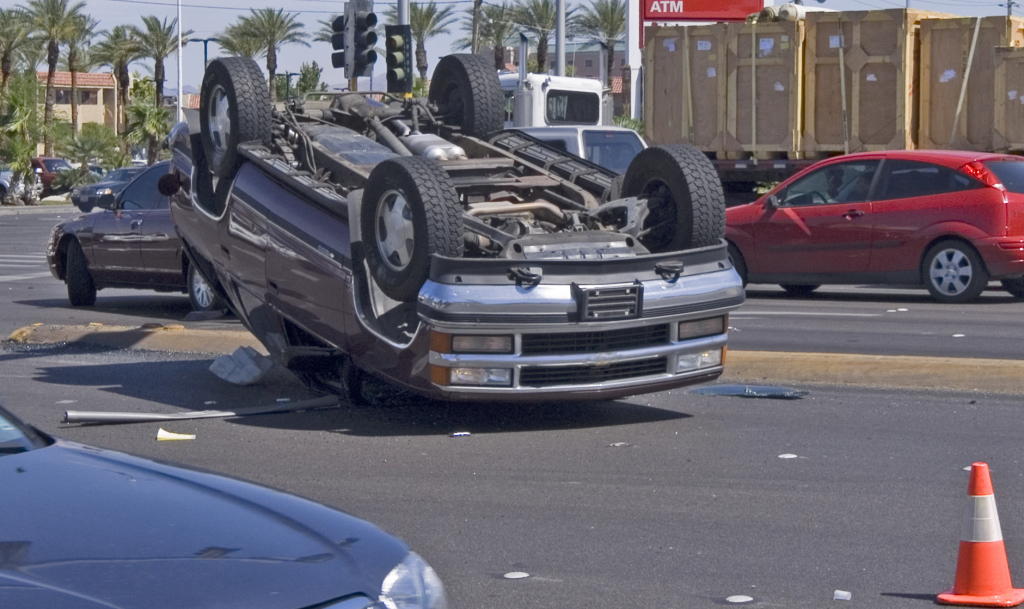 suv turen upside down in a traffic accident